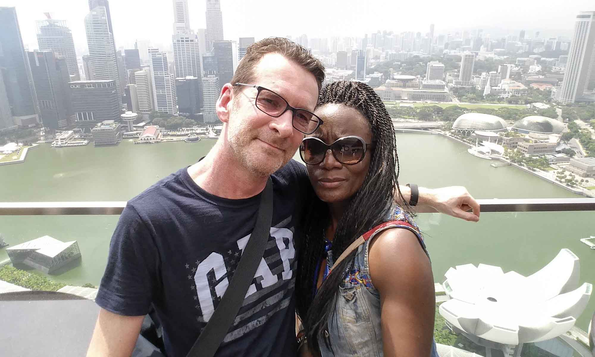 Us at the roof of the Marina Bay Sands Hotel, Singapore
