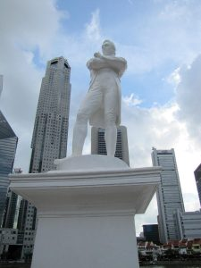 Statue of sir Stamford Raffles, founder of Singapore