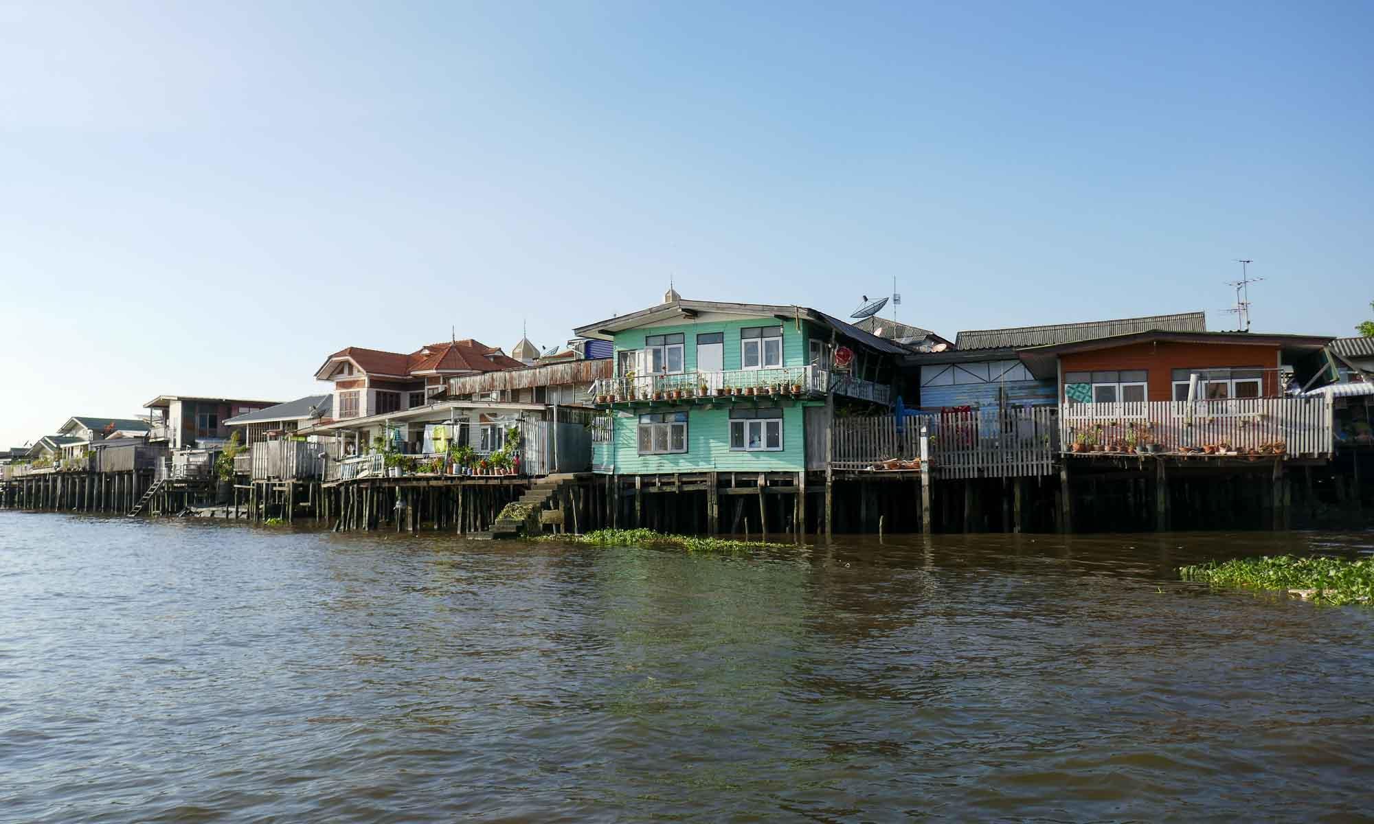 Stilt houses further up the river