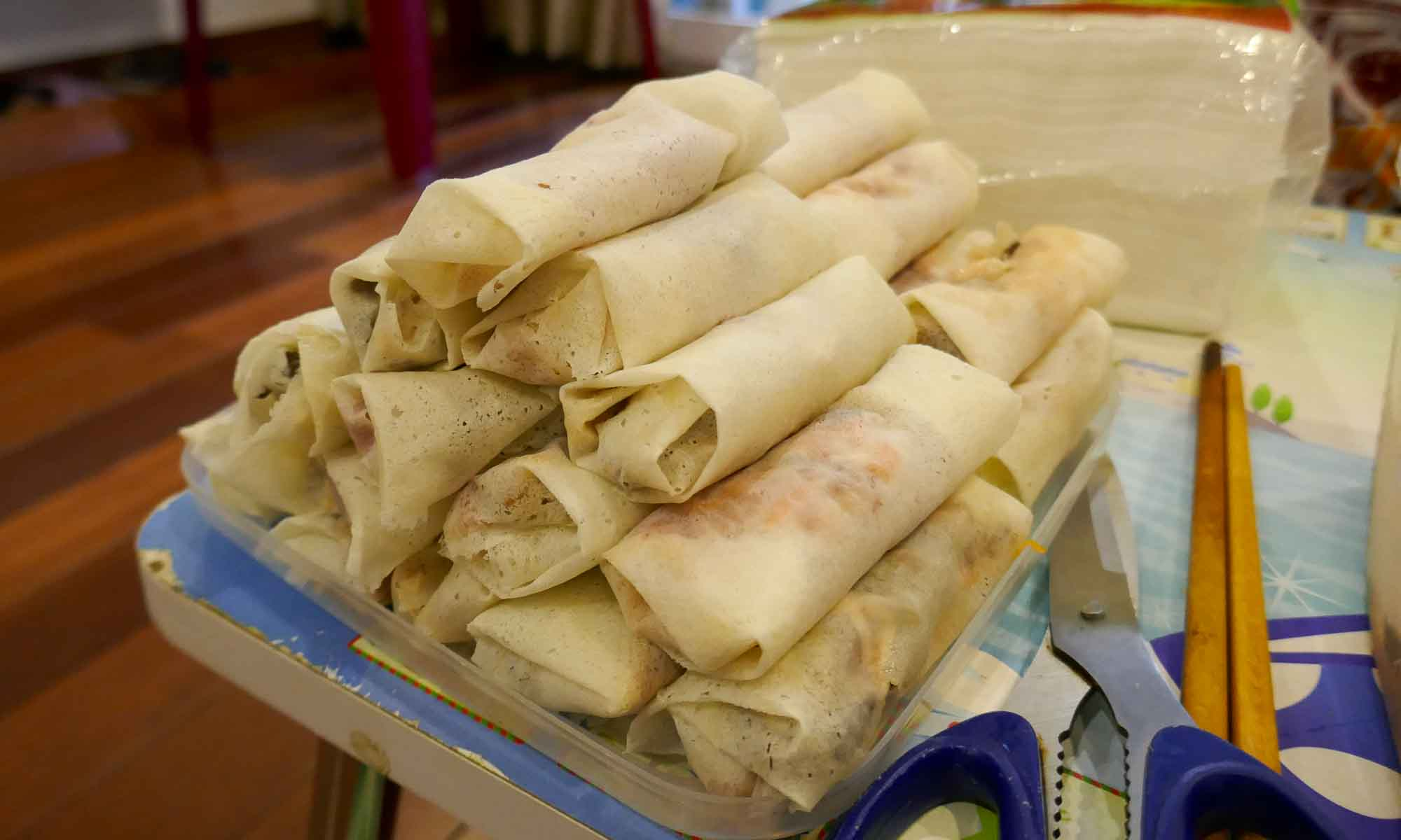 Spring rolls ready to be fried