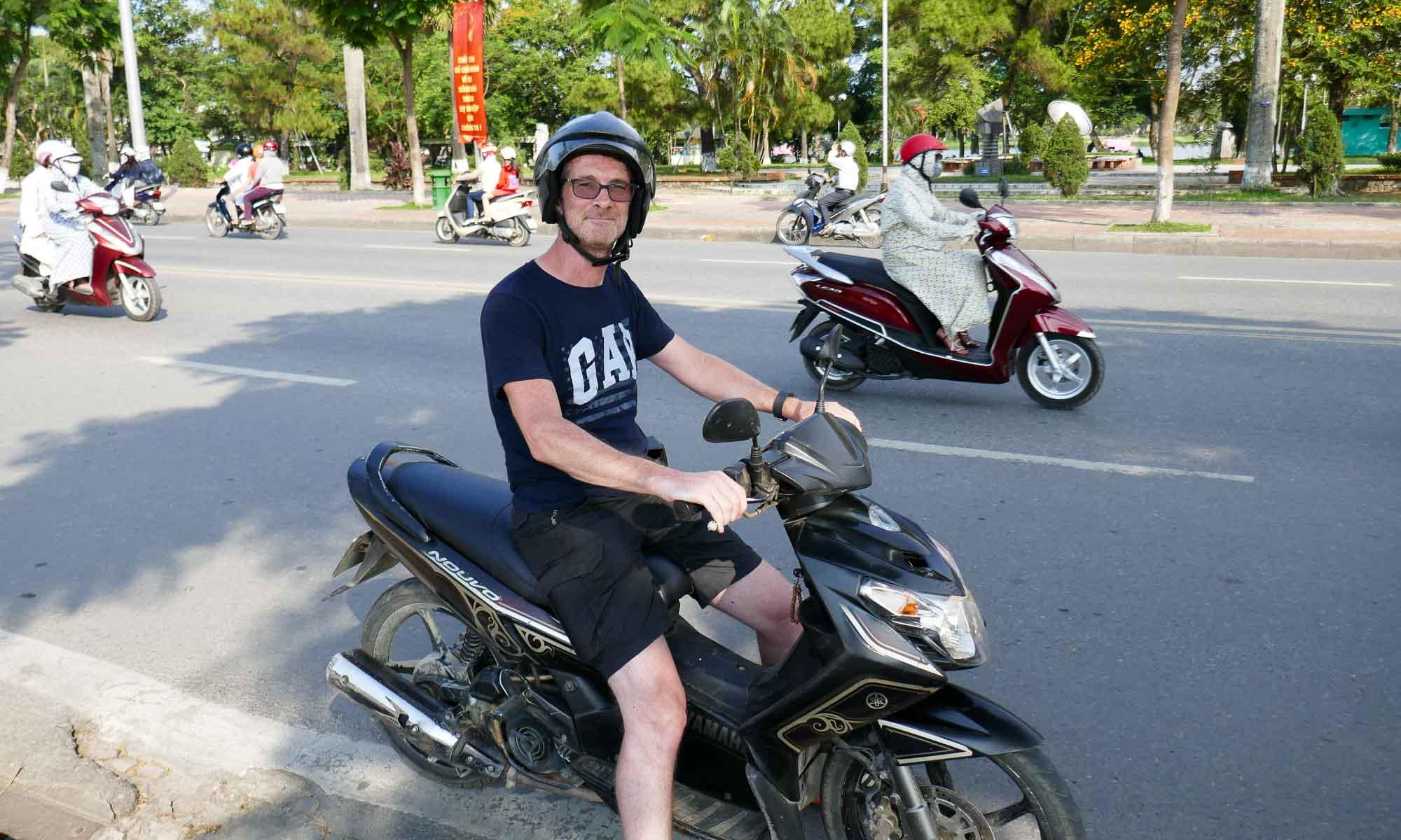 B on a bike in Hue