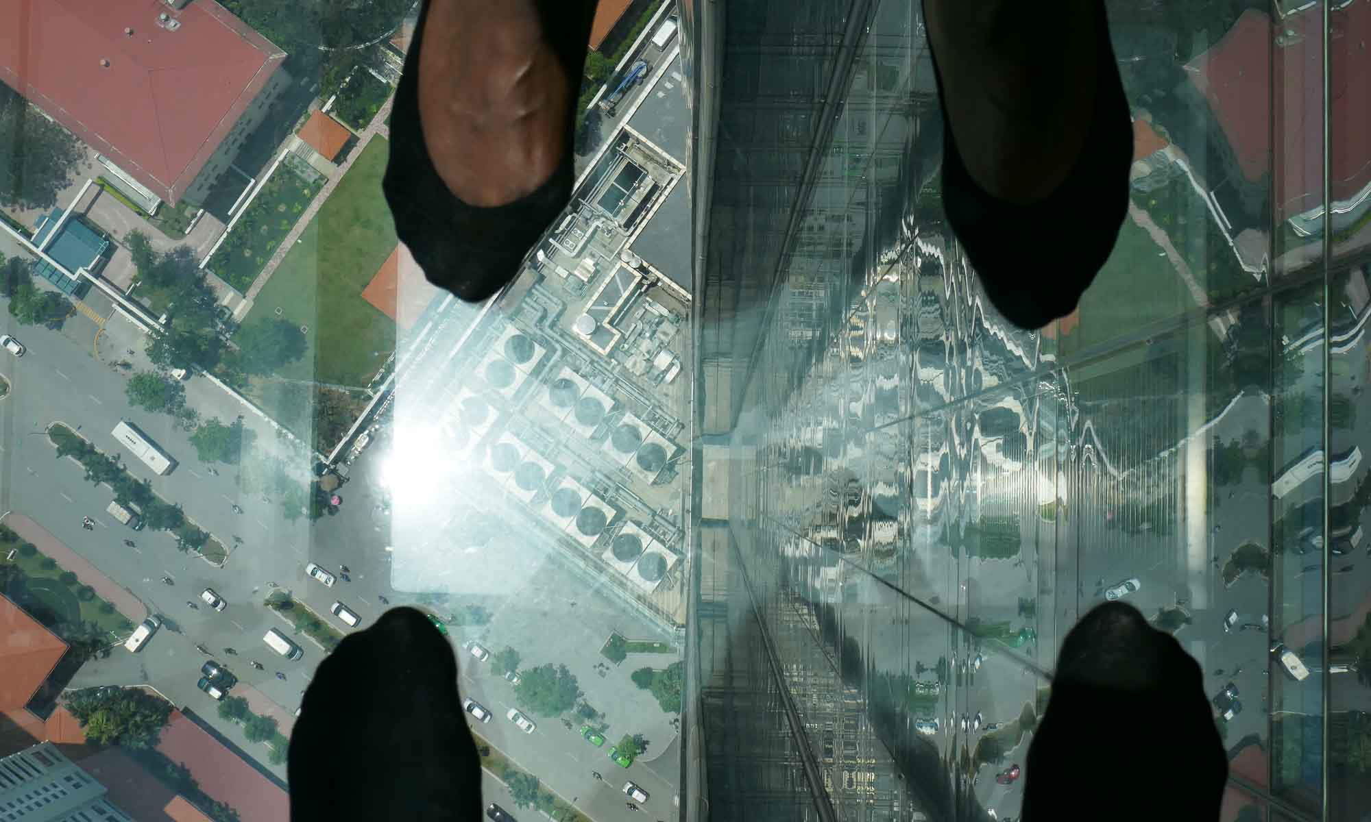 Looking down 250 m on one of the skywalks