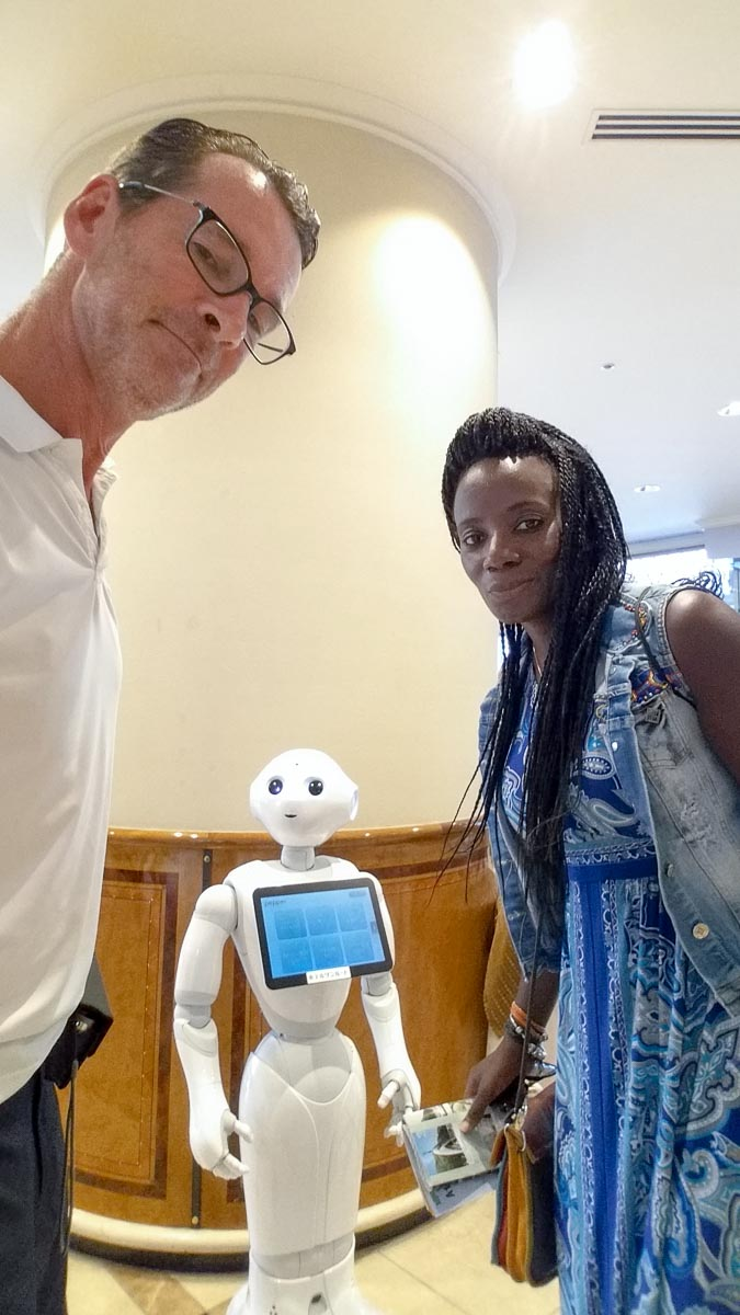 Welcomed by a robot we unfortunately couldn't understand