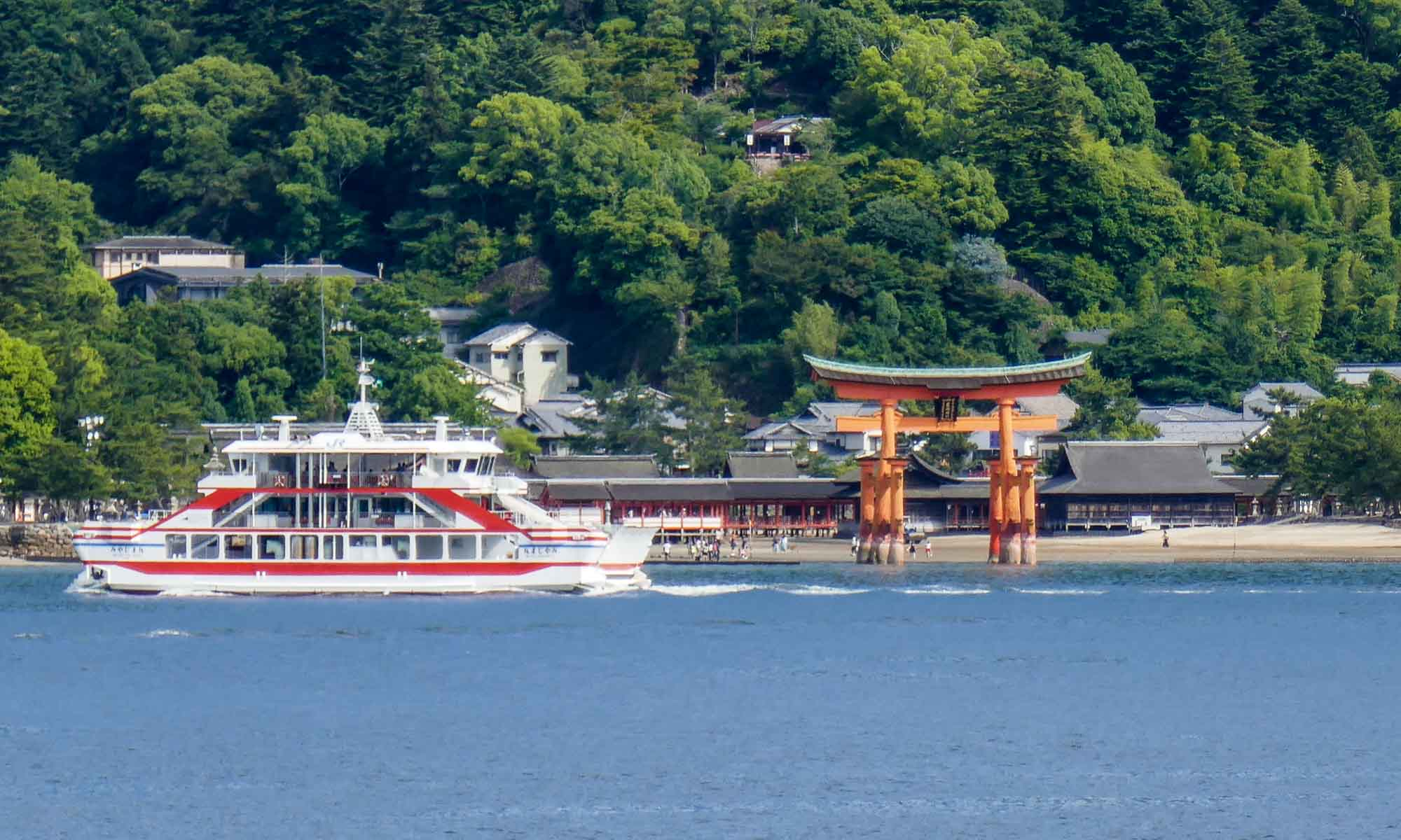 The torii gate viewed from our ferry