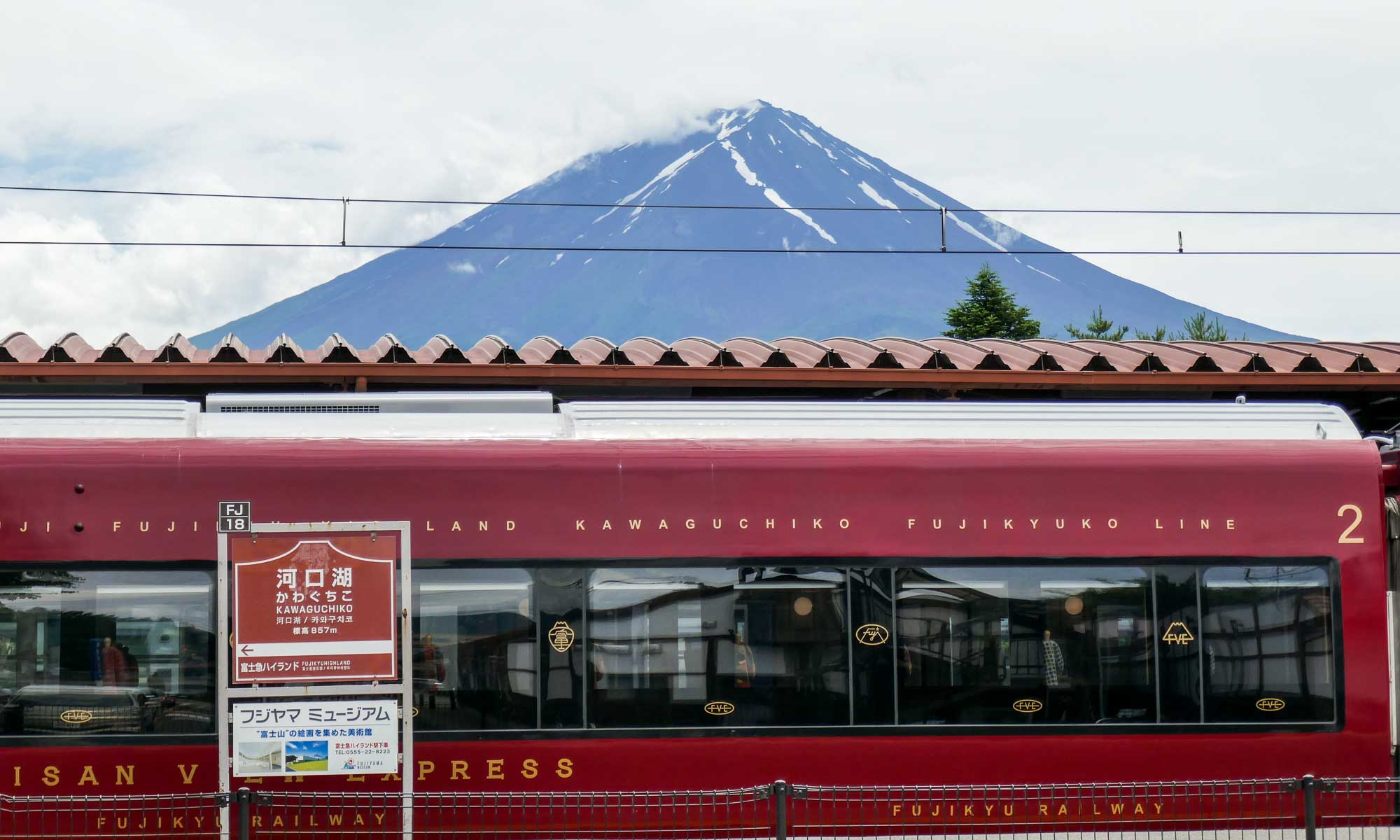 Behind the bus and train station we had a clear view of Mount Fuji, without its typical snow peak