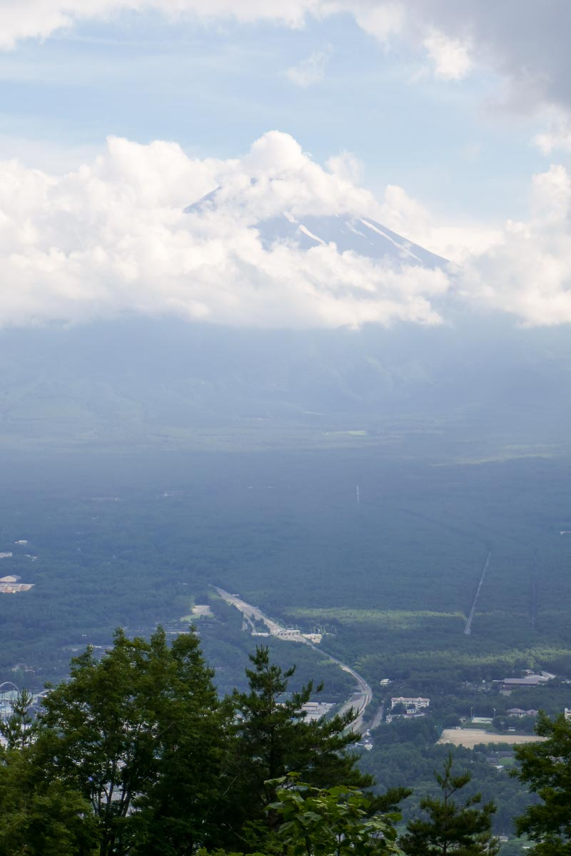 View from Mount Tenjo. Brief glimpse of Mount Fuji.
