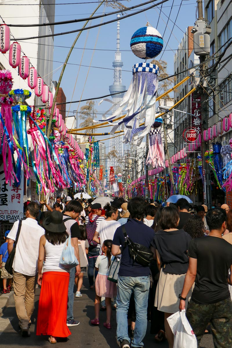 Shitamachi Tanabata Festival with the Tokyo Skytree in the background