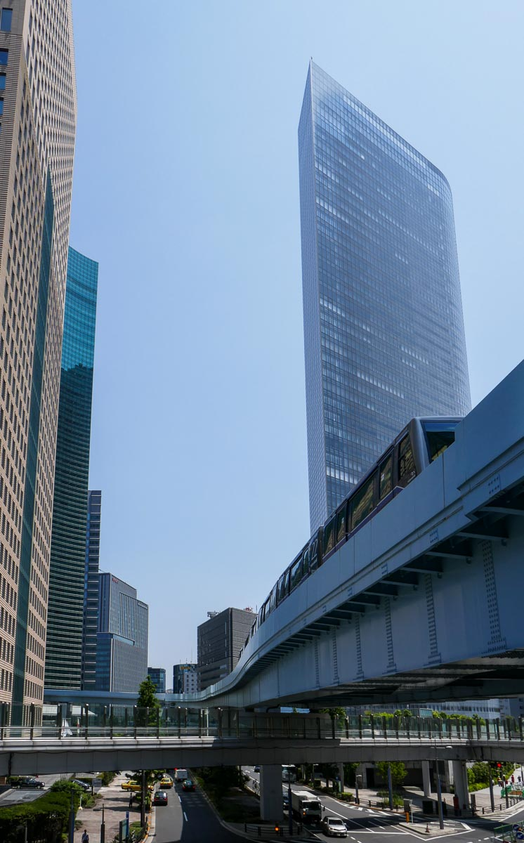 Skyscrapers and the Yurikamome line at Ginza