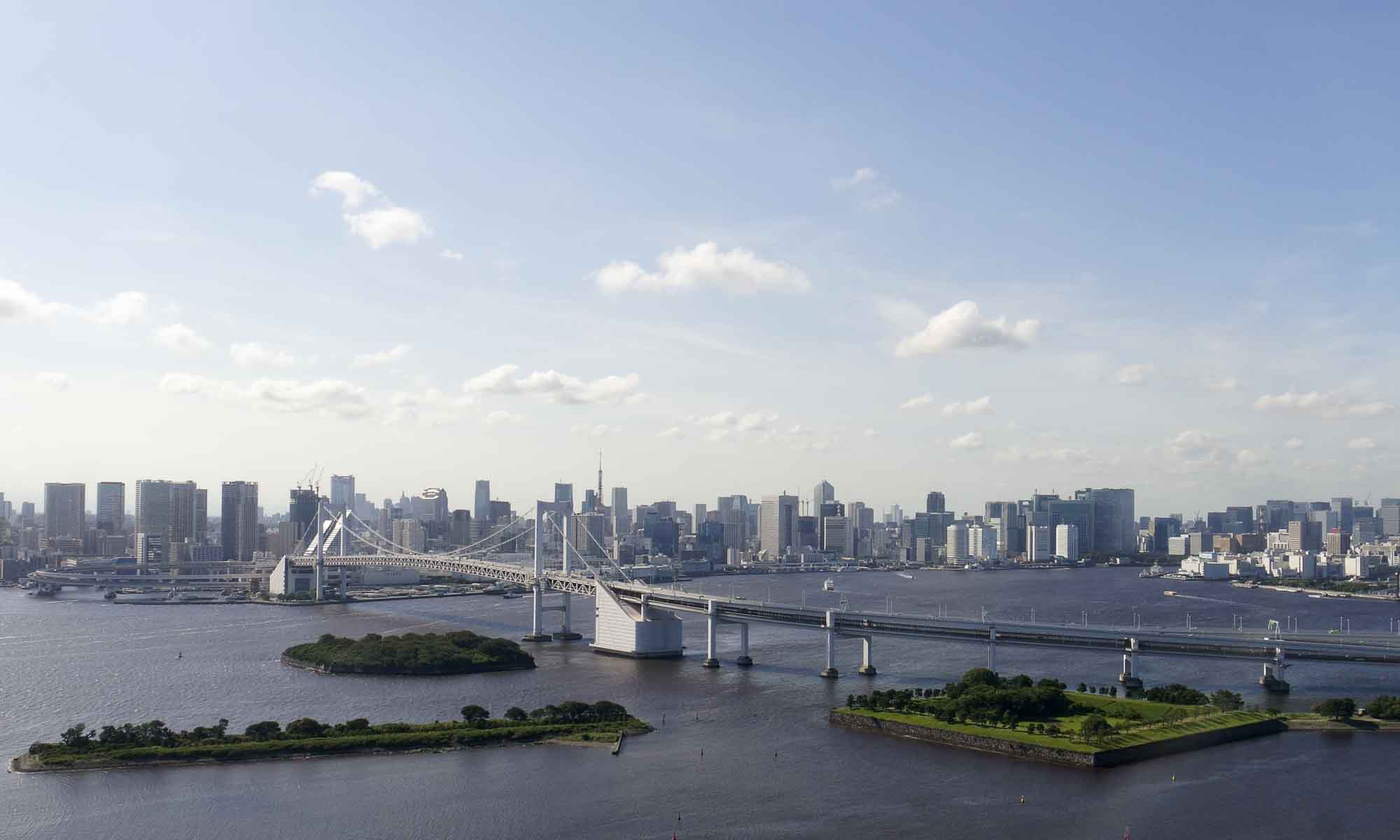 View from Fuji Television HQ on Tokyo skyline and the Rainbow Bridge